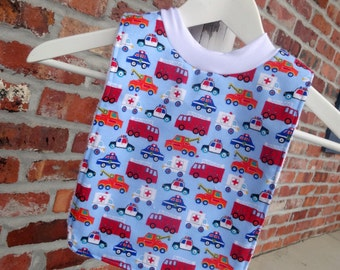 Infant or Toddler Pull Over Bib Large - Rescue Vehicles Fire Truck Police Car Tow Truck Ambulance Baby Girl Boy Toddler Flannel Terry Cloth
