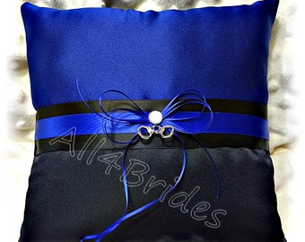 Thin blue line police wedding ring pillow with handcuff charms, royal blue and black wedding ring bearer cushion