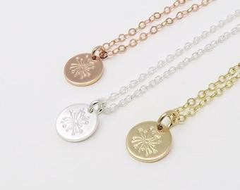 Dandelion Necklace - make a wish necklace, dandelion disc necklace, hand stamped