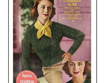1950 V-Neck Sweater and Marple Scarf Knitting Pattern - PDF Knitting Pattern - PDF Instant Download