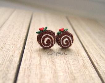 Yule Log Earrings Studs - Christmas Chocolate Sweet Dessert Swiss Roll