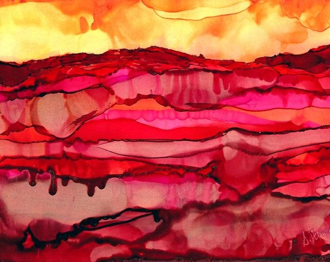 Desert Art- Southwestern Decor-Mountain Art-Western Decor-Landscape Wall Art-Modern Art-Home Decor Gifts-Alcohol Ink-Watercolor Home Decor