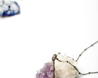 Electroformed Triangle Amethyst Cluster Necklace