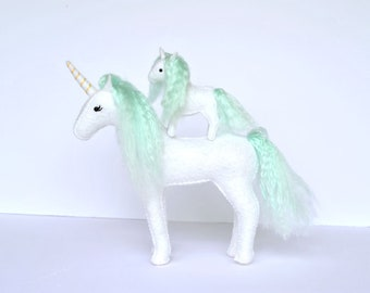 Felt Stuffed Unicorns Momma and Baby Mint Mane. Pair of Handmade Unicorns. Unicorn Lovers Gift.