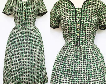 1950s Cotton Houndstooth Print Dress, Small to Medium | 50s Vintage Black, Green, Gray, and White Dress (S, M, 40-28-Free)