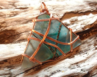 Mesmerizing Sea Beach Glass Hammered Copper Mermaid Pendant W/ Verdigris Patina, Crafted and Sourced on Outer Banks, Hatteras Island, NC.