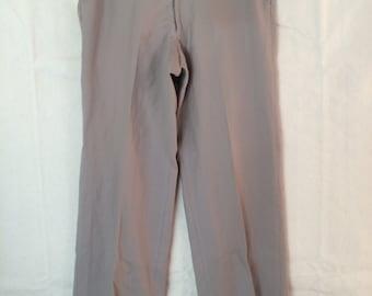 1970s Slacks - Mens Wool Khaki Pants size 33 by 29