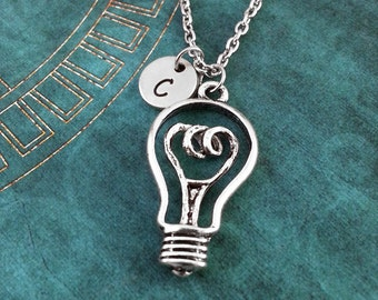 Lightbulb Necklace, Light Bulb Necklace, Personalized Necklace, Electricity Gift, Silver Lightbulb Pendant, Custom Necklace, Bright Idea
