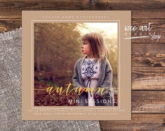 Photography Autumn Mini Session Template for Photographers 5x5, Gold