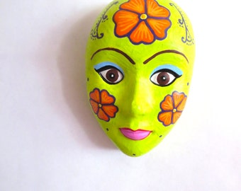 Plaster Mask Wall Decor, Orange Flowers, Plaster Wall Art, Plaster Wall Decor, Wall Mask, Mardi Gras Mask