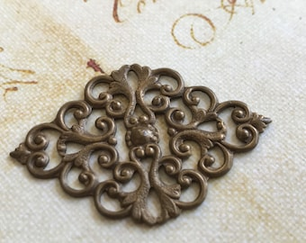 Vintage Brass Pendant with Rich Antiqued Patina