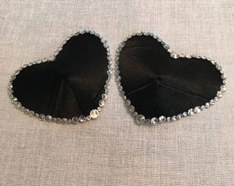 Satin and Rhinestone Black Heart Pasties 2""