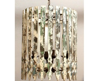 Picket Fence Chandelier Shabby Chic Hand Made and Rough Painted White and Green