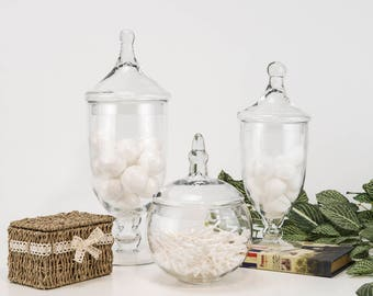 "Glass Apothecary Jars Set of 3, Candy Buffet Jars, Glass Jar with Lid, H-13.5"", 16.5"", 10"" #GAJ112113134"