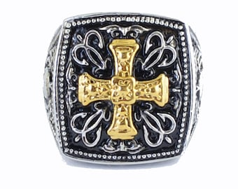 Gents Gold Edition Greek Cross Ring Stainless Steel Motorcycle Jewelry