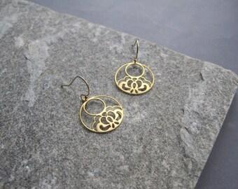 Gold Hoop Earrings -Gold Flower Hoop Earrings - Gold Filigree Earrings