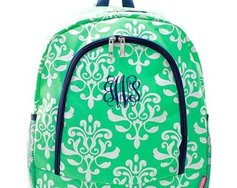 Monogrammed Backpack Personalized Damask Bloom Mint Backpack Personalized Backpack Kids Backpack Girls Backpack Boys Backpack