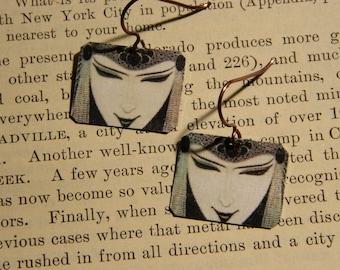 Art Jewelry Aubrey Beardsley earrings mixed media jewelry