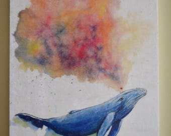 Color Burst Mixed Media on Wood Panel | Humpback Whale Spouting - Rainbow Watercolor 8 x 10