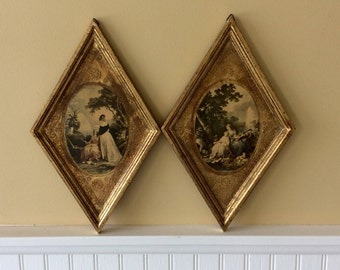 Vintage Pair of Wood Florentine Italian Plaques, Diamond Shaped, Gold Gilt, Wall Plaques, French Country, Statement Wall Decor