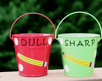 Personalized Teacher gift - Sharp and Dull pencil holder  - 2 piece set