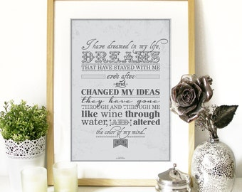 Emily Brontë quote from Wuthering Heights Typography Art Poster - Wuthering Heights quote by Emily Bronte classic english literature Poster