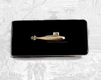 Money Clip Silver Submarine Nautical Inspired Inlaid in Black Enamel on Silver Plated Clip