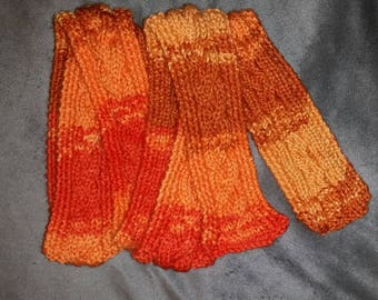 Hand Knit Cabled Scarf In Shades Of Orange