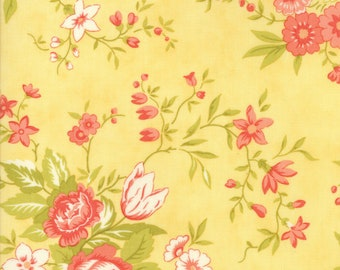 Fig Tree Fabric - Ella and Ollie Fabric Yardage - Moda Quilt Fabric - Yellow Floral Fabric By The 1/2 Yard