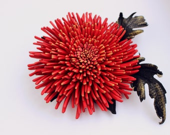 Leather gift for her red leather flower brooch, leather jewelry, chrysanthemum corsage, leather anniversary, hostess gift