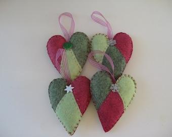 Set of 4 Handmade Felt Ornament Hearts