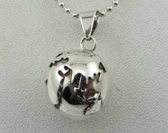 Vintage Sterling Silver World Hollow Ball Chime Pendant FREE Shipping 18 Inch Sterling Silver Chain Included! #WORLD-SPC5