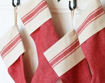 Red Vintage-Inspired Christmas Stocking - Scandinavian - Red Stripe - Linen - Cotton - God Jul