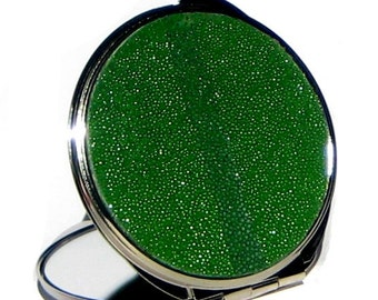 Kelly Green Stingray Leather Compact Mirror - by UNEARTHED