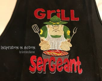 Embroidered Apron for the Grill Meister -- Grill Sergeant!