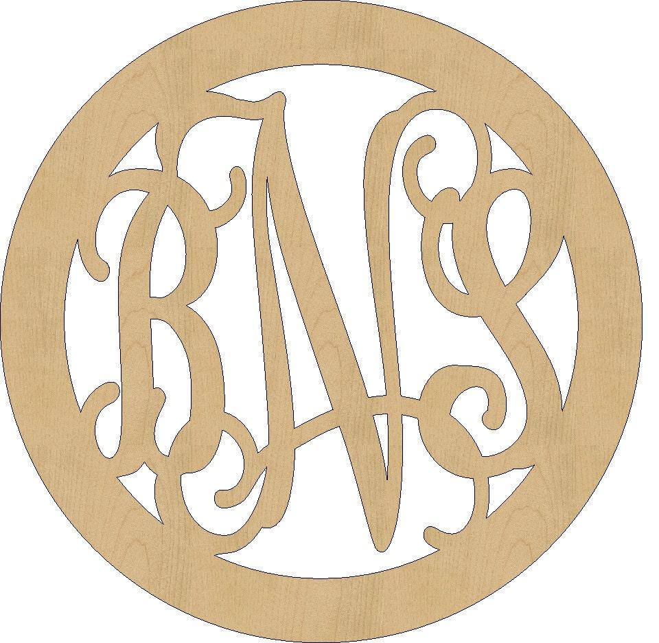 Unfinished Wooden Monogram Circle Border Design Vine Script