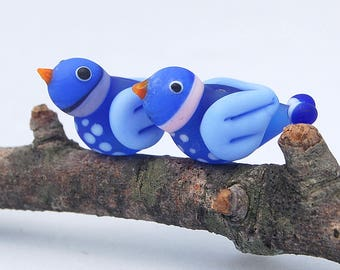 Two Blue Lampwork Glass Bird Beads SRA