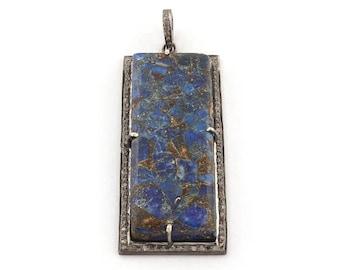 Memorial Day Sale 1 Pc Pave Diamond Mohave Lapis Bar Pendant - 925 Sterling Silver - Lapis Pendant 63mmx26mm PD827