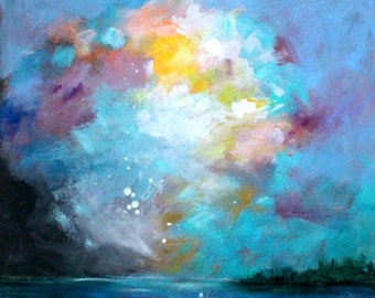 """Small Abstract Cloud Painting, Skyscape, Ocean, Landscape on Paper """"Sky Study"""" 12x12"""""""