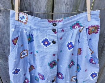Blue Fun Print Skirt - S/M