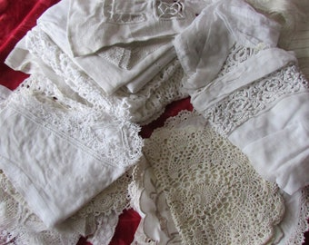 Large job lot antique French lace samples collars cuffs hems doilies projects or collectors c1880-1920