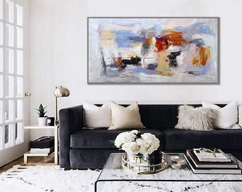 "Large Wall Art hand painted Abstract painting Blue White Textured Palette Knife Painting 36x72""/90x180cm"