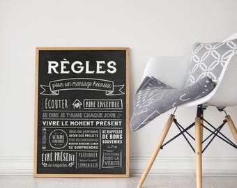 Digital poster rules House rules couple, marriage rules
