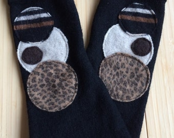 Merino Wool Cuffed Fitted Fingerless Gloves from recycled sweaters - black, brown and animal print size L