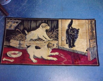 Antique Tapestry,rug,wall hanging,Two dogs and a black cat