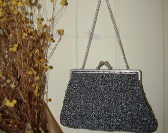 Vintage metallic knit hand bag/ purse