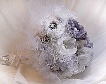 Romantic wedding bouquet, Lace fabric bouquet, blush bride bouquet, brooch bouquet, bouquet, vintage, custom Bouquet Bouquet lace.