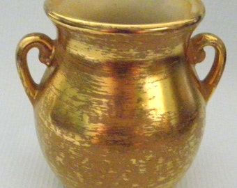 Vintage Stangl Vase (small) painted granada Gold