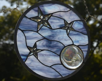 Stained Glass Hanging Panel from Windsong Glass Studio - Moon Shine
