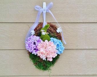 Easter Spring Hydrangea Wreath - READY TO SHIP Easter Basket - Bunny Wreath - Wreath Alternative